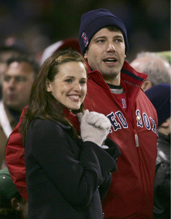 <div class='meta'><div class='origin-logo' data-origin='none'></div><span class='caption-text' data-credit='AP Photo/ Charles Krupa'>In this Oct. 23, 2004 file photo, actors Jennifer Garner, left, and Ben Affleck attend Game 1 of the World Series in Boston. (AP Photo/Charles Krupa, File)</span></div>