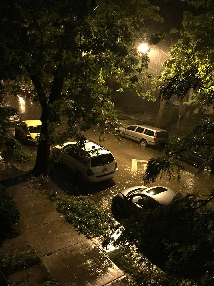 <div class='meta'><div class='origin-logo' data-origin='WLS'></div><span class='caption-text' data-credit='Lisa Carbone'>Flooding in Chicago's Andersonville neighborhood after heavy rains fell June 22, 2016.</span></div>