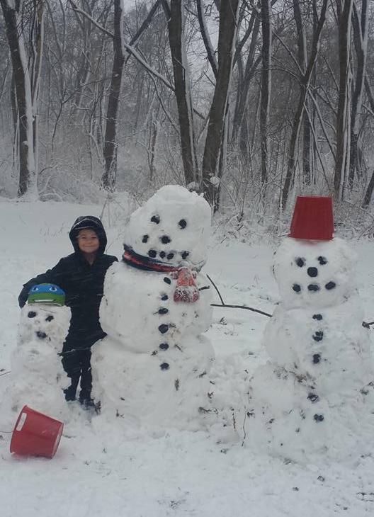 <div class='meta'><div class='origin-logo' data-origin='WLS'></div><span class='caption-text' data-credit='Angela Davis'>Snowmen in Portage, Ind. on Feb. 24, 2016. Courtesy Angela Davis.</span></div>