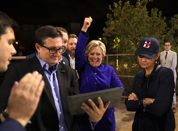 <div class='meta'><div class='origin-logo' data-origin='none'></div><span class='caption-text' data-credit='AP Photo/Andrew Harnik'>Presidential candidate Hillary Clinton watches the World Series baseball game between the Chicago Cubs and the Cleveland Indians after her final campaign rally of the day.</span></div>