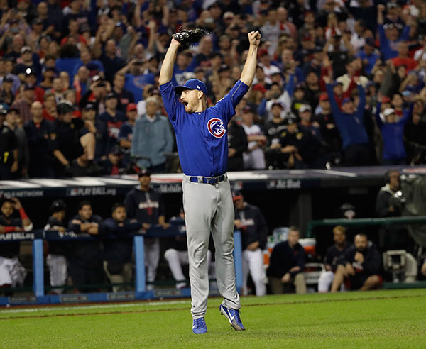 <div class='meta'><div class='origin-logo' data-origin='none'></div><span class='caption-text' data-credit='AP Photo/David J. Phillip'>Chicago Cubs relief pitcher Mike Montgomery reacts after Game 7 of the Major League Baseball World Series against the Cleveland Indians.</span></div>