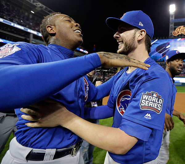 <div class='meta'><div class='origin-logo' data-origin='none'></div><span class='caption-text' data-credit='AP Photo/David J. Phillip'>The Chicago Cubs celebrate after Game 7 of the Major League Baseball World Series. The Cubs won 8-7 in 10 innings to win the series 4-3.</span></div>