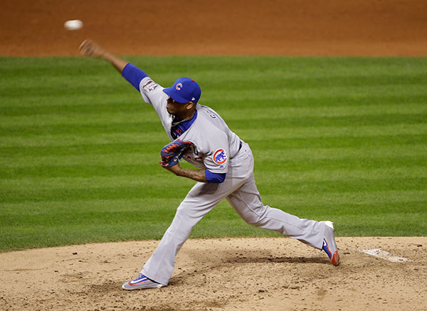 <div class='meta'><div class='origin-logo' data-origin='none'></div><span class='caption-text' data-credit='AP Photo/Gene J. Puskar'>Chicago Cubs relief pitcher Pedro Strop throws during the sixth inning of Game 1.</span></div>