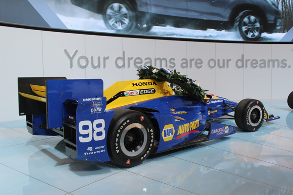 <div class='meta'><div class='origin-logo' data-origin='WLS'></div><span class='caption-text' data-credit=''>The Honda race car that won the 2016 Indianapolis 500 on display at the 2017 Chicago Auto Show on Feb. 9, 2017.</span></div>