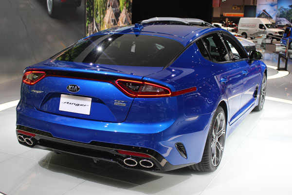<div class='meta'><div class='origin-logo' data-origin='WLS'></div><span class='caption-text' data-credit=''>Rear view of the 2018 Kia Stinger on display at the 2017 Chicago Auto Show on Feb. 9, 2017.</span></div>