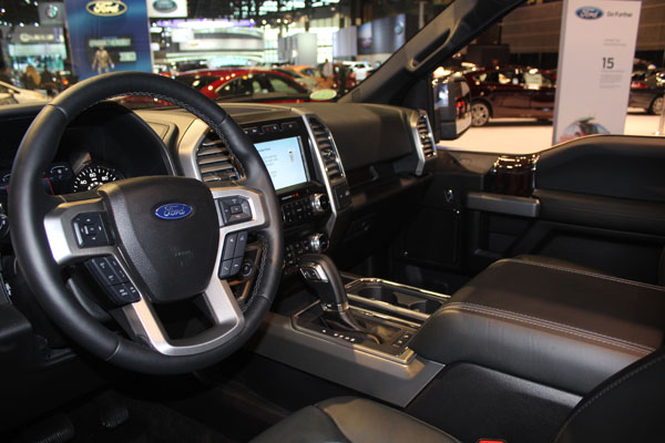 <div class='meta'><div class='origin-logo' data-origin='WLS'></div><span class='caption-text' data-credit=''>Interior of the 2018 Ford F-150 on display at the 2017 Chicago Auto Show on Feb. 9, 2017.</span></div>