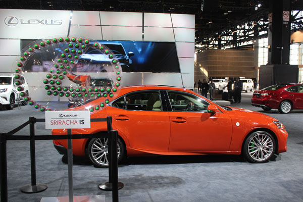<div class='meta'><div class='origin-logo' data-origin='WLS'></div><span class='caption-text' data-credit=''>The Lexus Sriracha IS on display at the 2017 Chicago Auto Show on Feb. 9, 2017.</span></div>