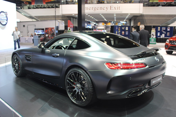 <div class='meta'><div class='origin-logo' data-origin='WLS'></div><span class='caption-text' data-credit=''>Rear view of the 2018 Mercedes-AMG GT C Edition 50 on display at the 2017 Chicago Auto Show on Feb. 10, 2017.</span></div>