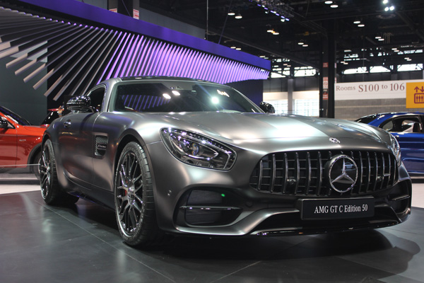 <div class='meta'><div class='origin-logo' data-origin='WLS'></div><span class='caption-text' data-credit=''>The 2018 Mercedes-AMG GT C Edition 50 on display at the 2017 Chicago Auto Show on Feb. 10, 2017.</span></div>