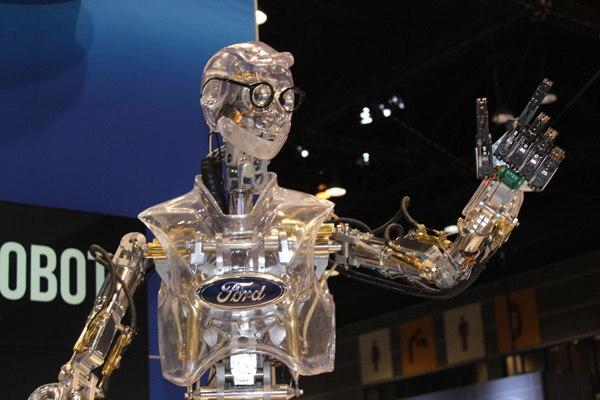 <div class='meta'><div class='origin-logo' data-origin='WLS'></div><span class='caption-text' data-credit=''>Hank the Robot entertains the crowd at the Ford exhibit at the 2017 Chicago Auto Show on February 13, 2017.</span></div>