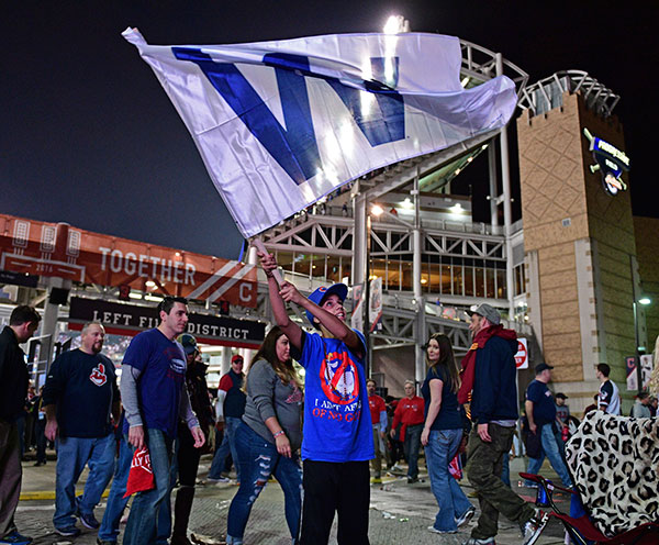 <div class='meta'><div class='origin-logo' data-origin='none'></div><span class='caption-text' data-credit='AP Photo/David Dermer'>Indians and the Cubs, outside Progressive Field, Tuesday, Nov. 1, 2016, in Cleveland. The Cubs won 9-3 to send the series to Game 7.</span></div>