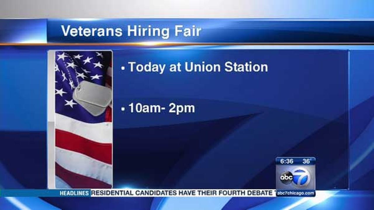A job fair for veterans will be held at Chicagos Union Station on Tuesday.