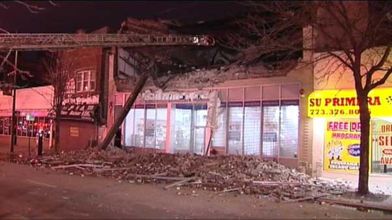 No injuries were reported after a building collapsed early Monday in the Back of the Yards neighborhood on the South Side.