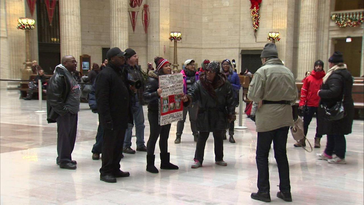 News Year's Day police shootings protest at Union Station