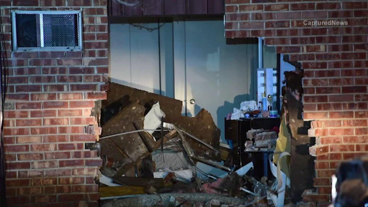A truck plowed into a Merrillville apartment building Tuesday night.