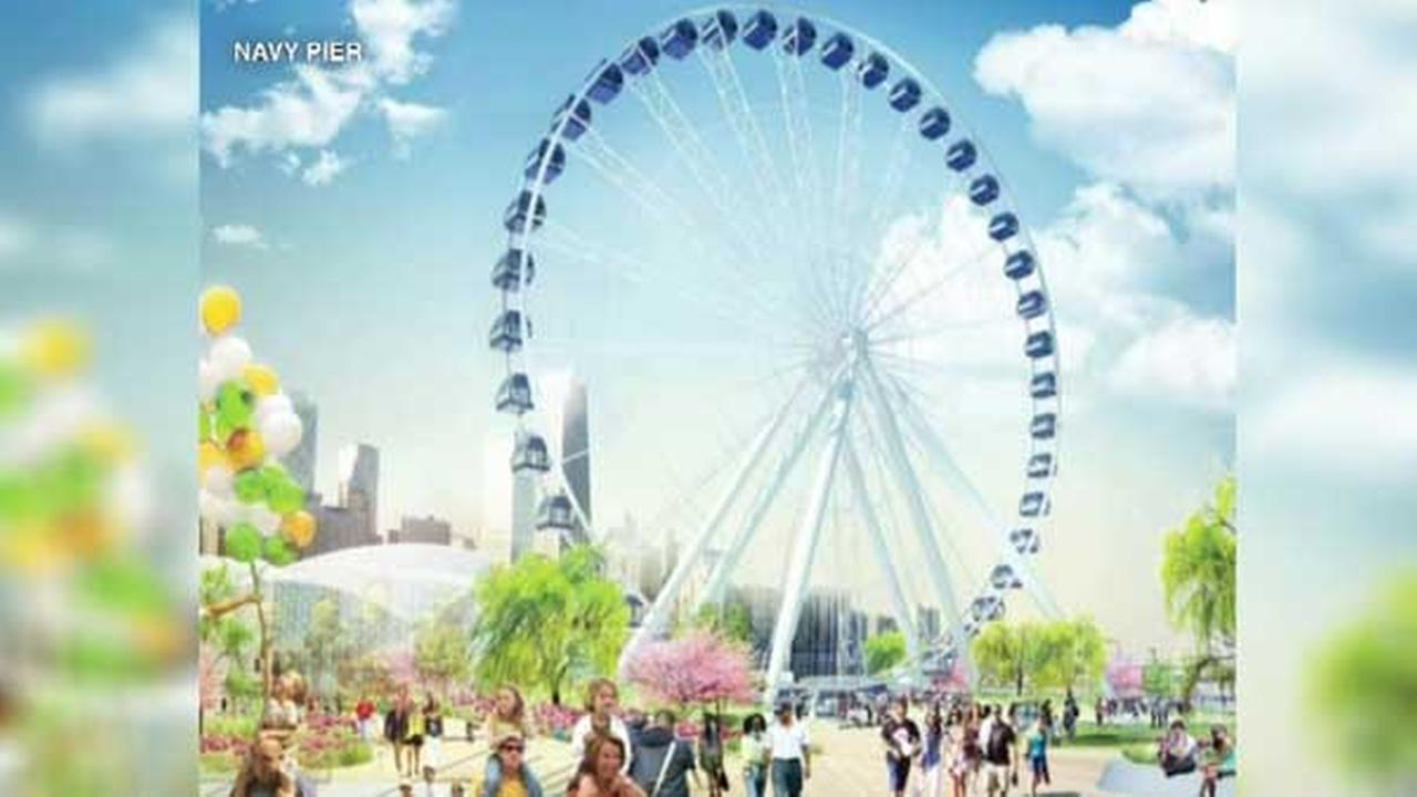 A rendering of the new Ferris wheel to be built at Navy Pier.