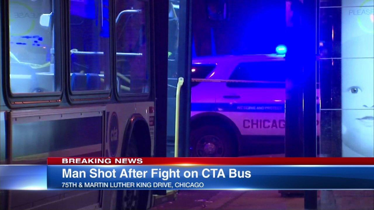Man shot after fight on CTA bus