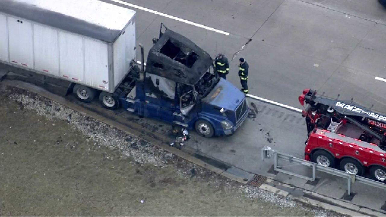 Firefighters and emergency crews have extinguished a fire in the cab of a semi on I-294 near Central.