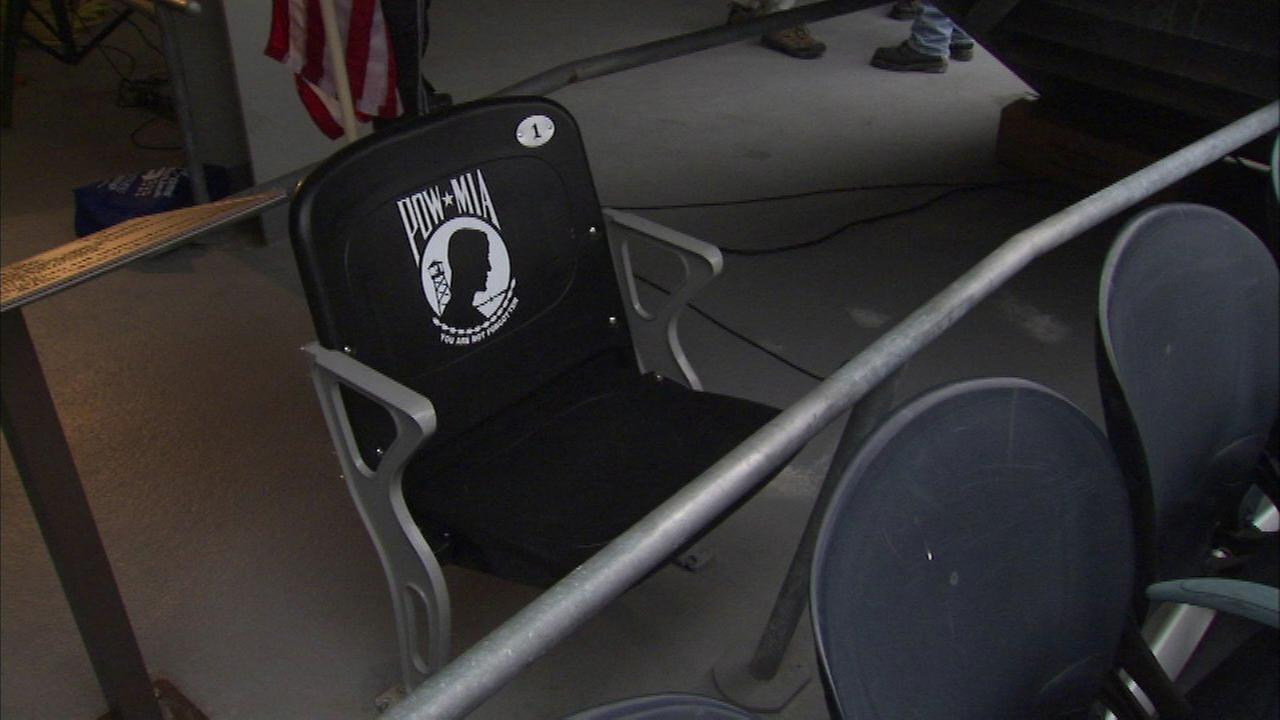 The seat in Section 121 is the first POW/MIA chair of honor in Illinois.