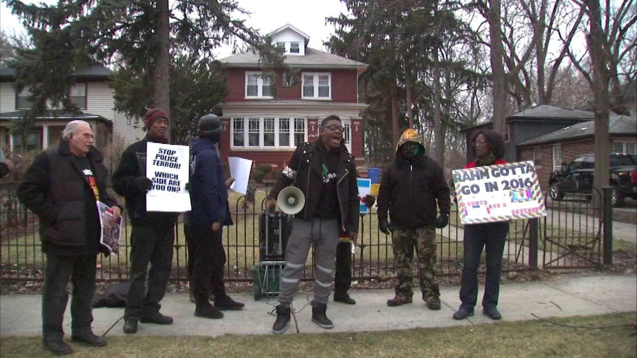 Young activists protested outside the home of 21st Ward Ald. Howard Brookins, Jr.