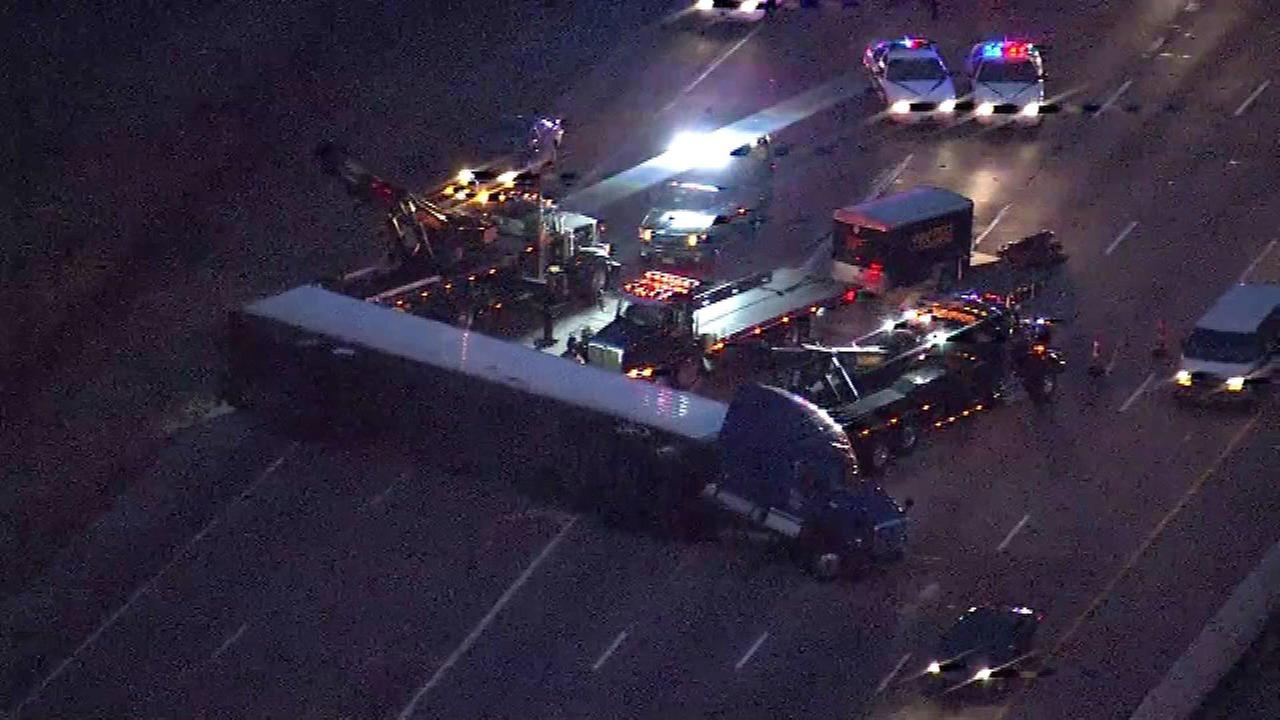 An overturned semi is blocking nearly all lanes of eastbound I-80/94 at the Cline Avenue exit in northwest Indiana.