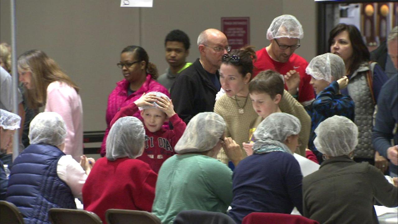 Five thousand volunteers gathered at North Central College in Naperville for the fifth annual Feed My Starving Children event.