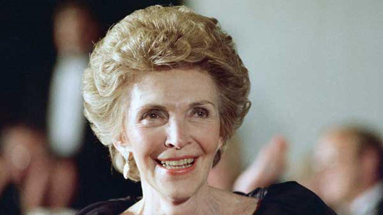 Nancy Reagan smiles in 1988, wife of U.S. President Ronald Reagan.