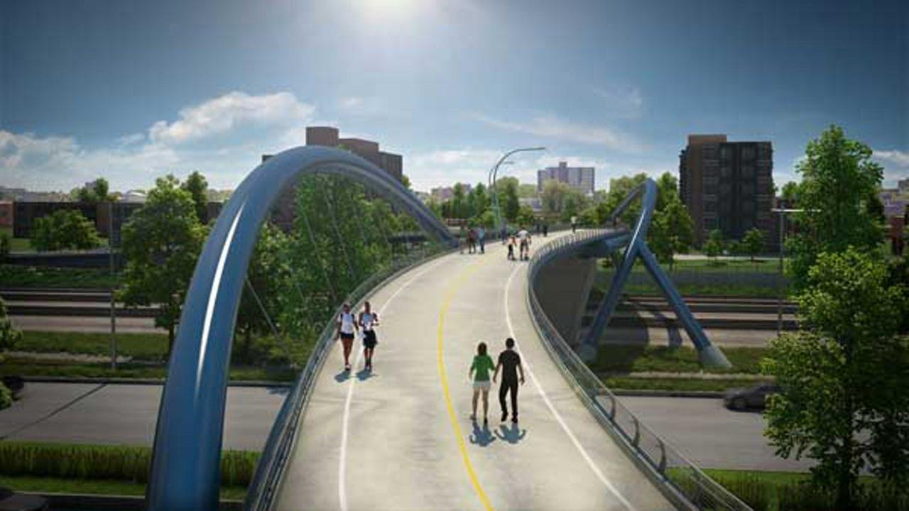 New renderings show a proposal for a new pedestrian bridge over Lakeshore Drive at 41st Street.