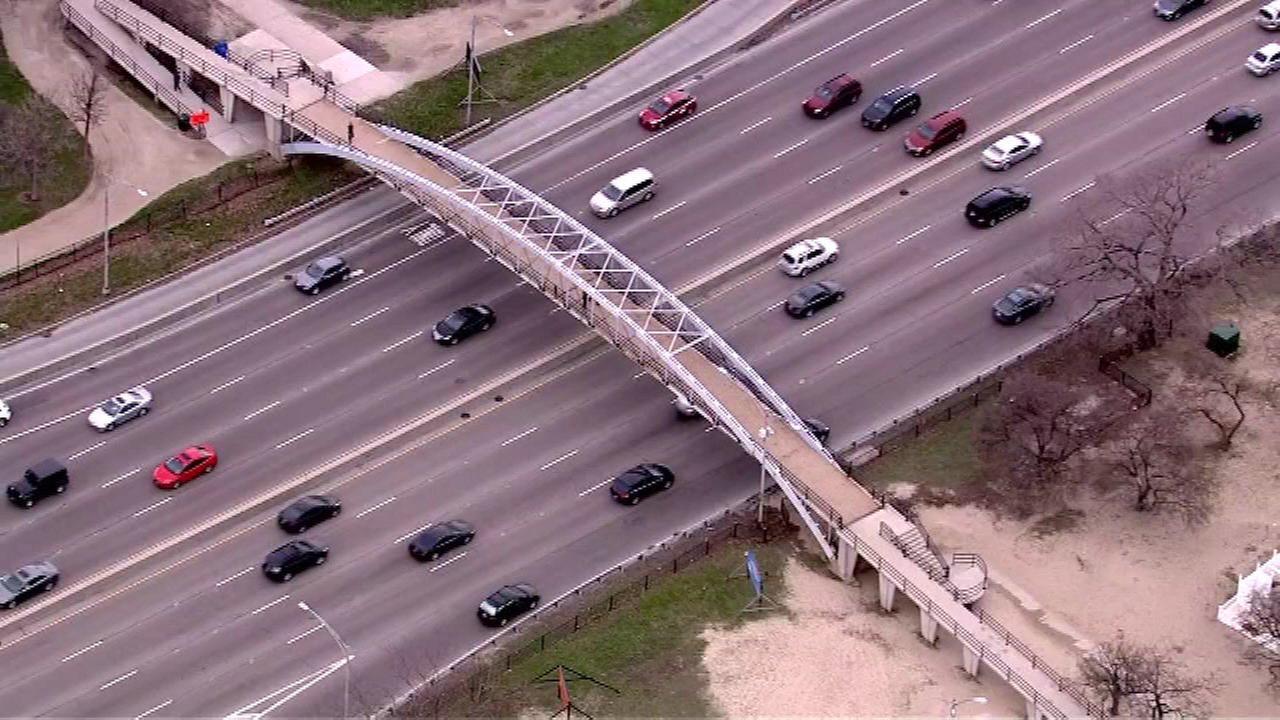 The North Avenue pedestrian bridge over Lake Shore Drive will shut down beginning April 11.