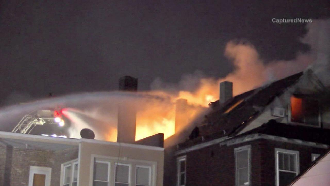 Fire rips through Whiting apartment building