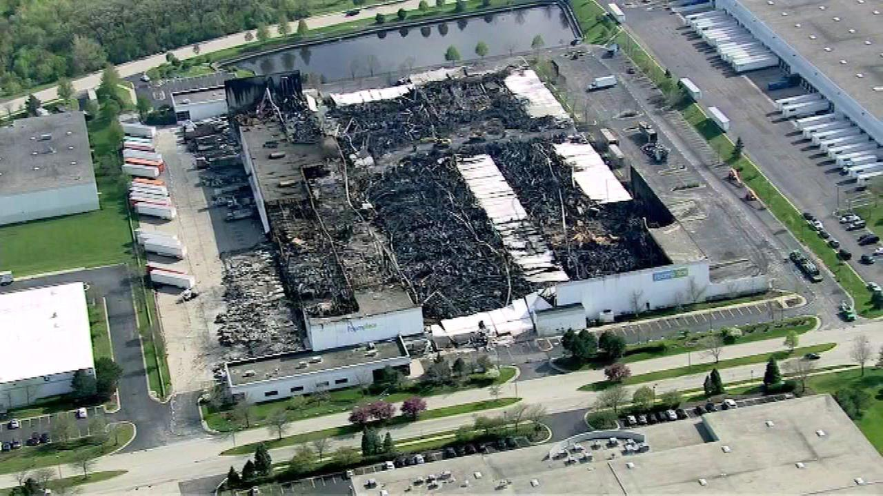 The RoomPlace warehouse in southwest suburban Woodridge is seen on April 29, 2016, after it was destroyed by a fire one week earlier.