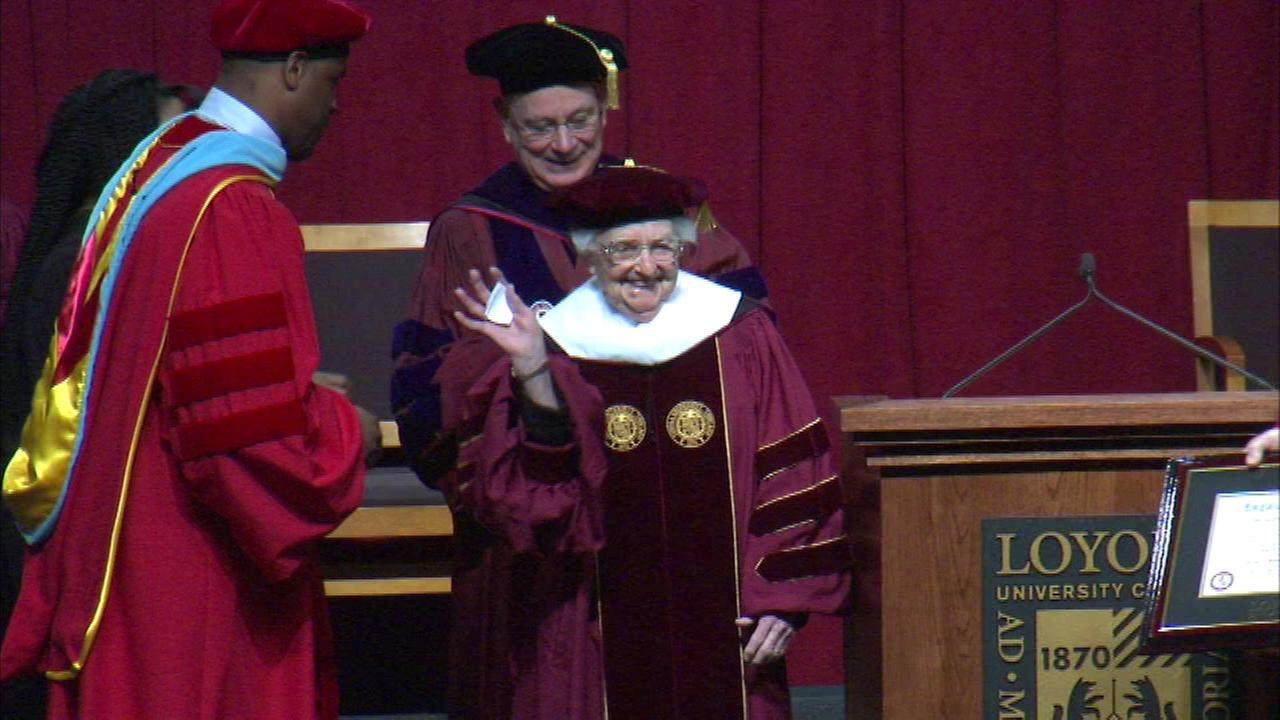 The College of Arts and Sciences at Loyola University gave Sister Jean Dolores Schmidt an honorary degree for her more than 50 years of service at the school.