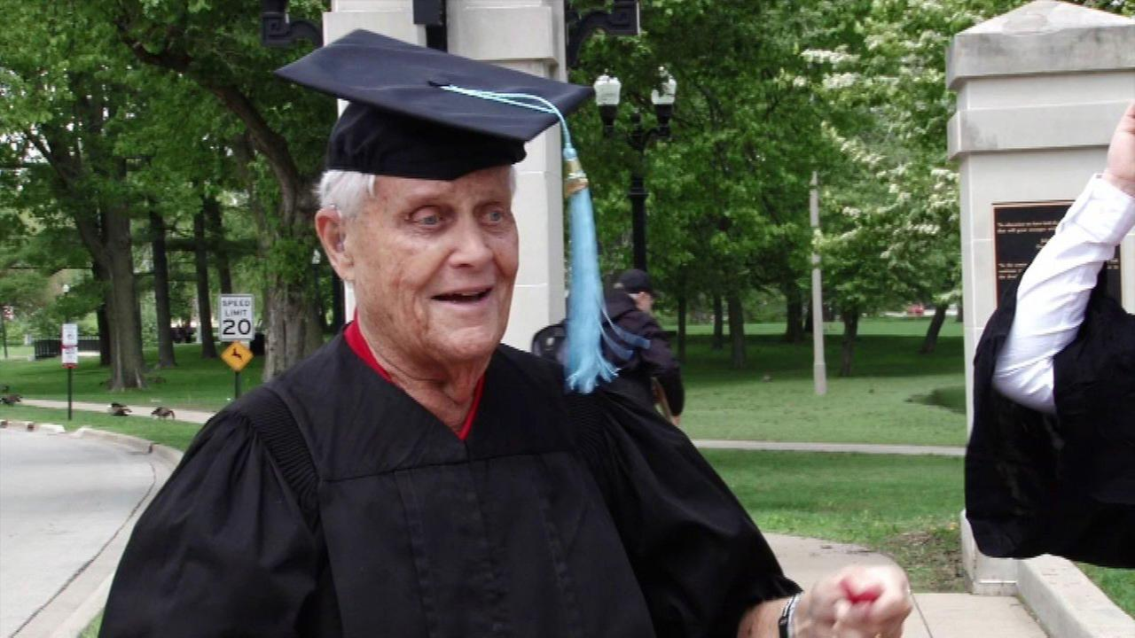 Gus Trantham, 85, fulfilled his long-time dream of picking up his diploma at Northern Illinois University.