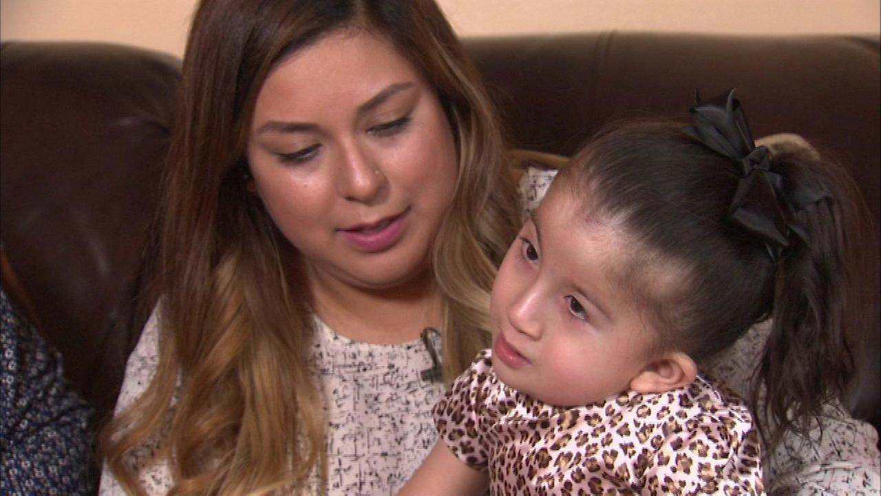 Kimberly Alvarez, 3, suffers from a severe congenital scoliosis and needs a brace to breathe.