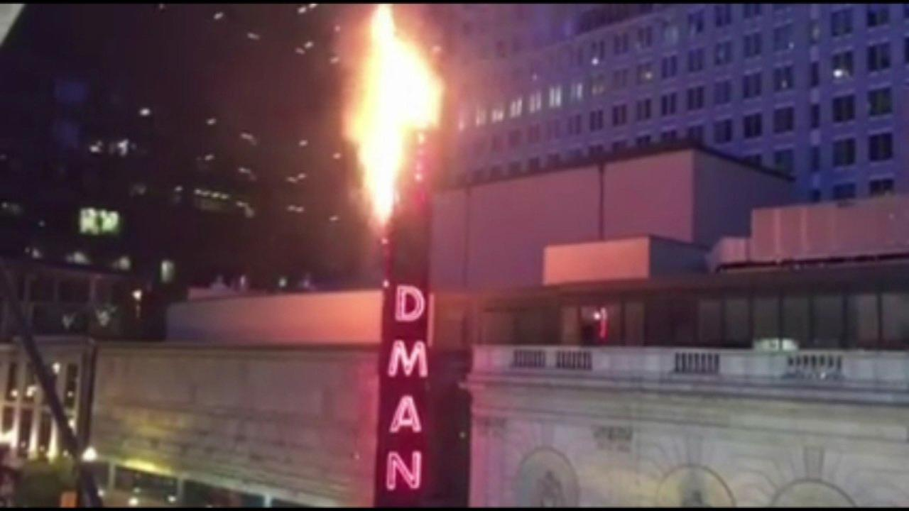 Goodman Theatre sign catches fire