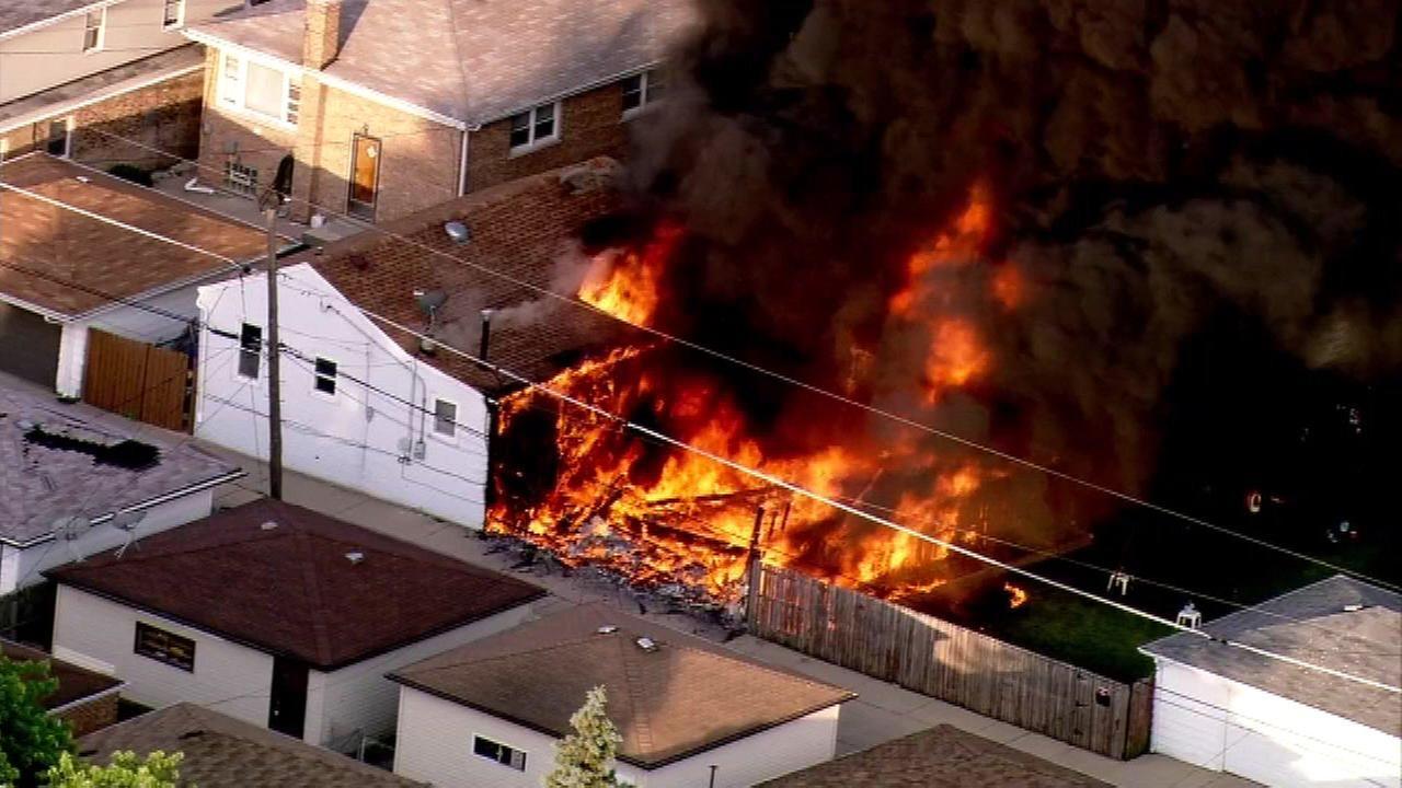 Stickney garage erupts in flames