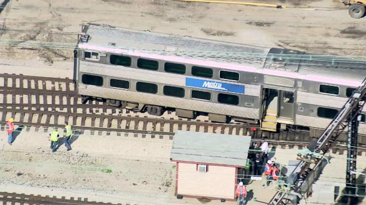 A Metra Electric train derailed near 11th Street in Chicagos South Loop neighborhood on June 10, 2016.