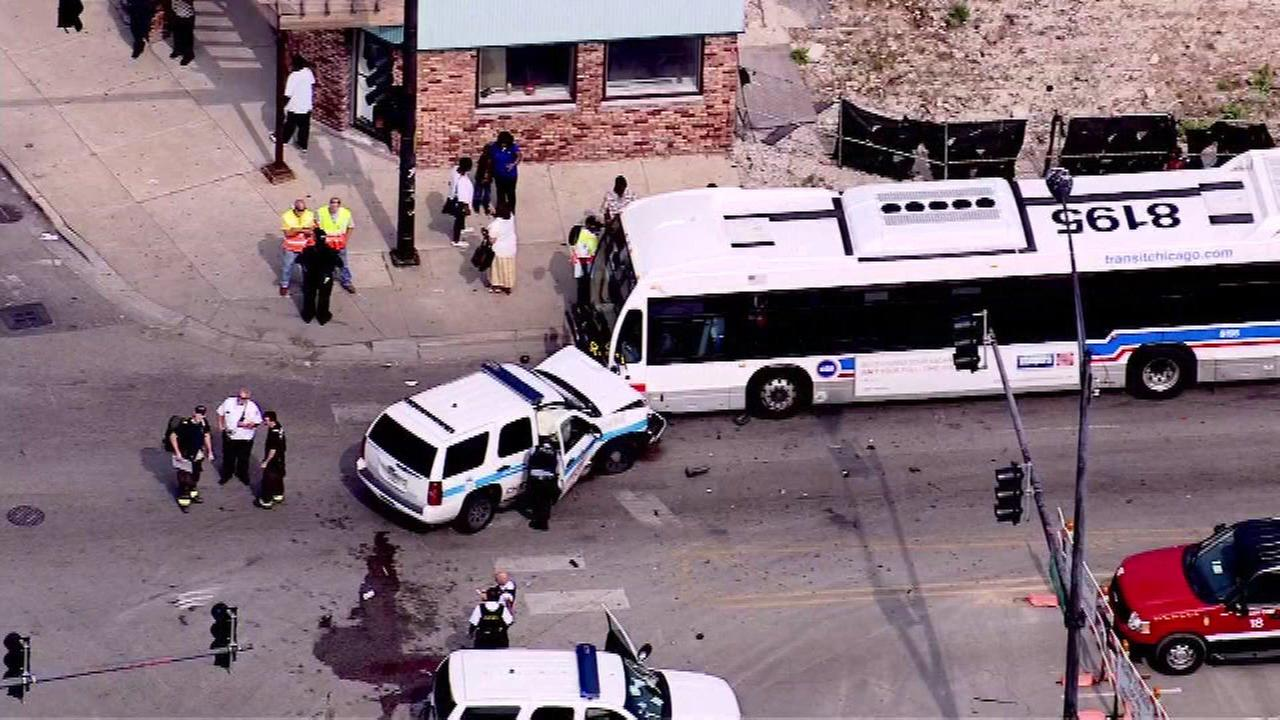 Eight people were injured in a crash involving a Chicago police squad car, a CTA bus and another vehicle on Chicagos West Side Monday afternoon.