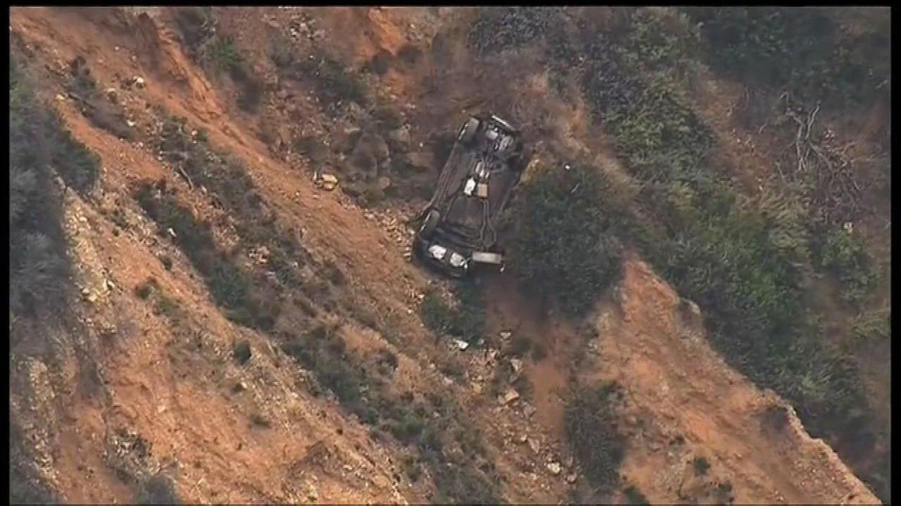 A car after plunging off a cliff in Rancho Palos Verdes.