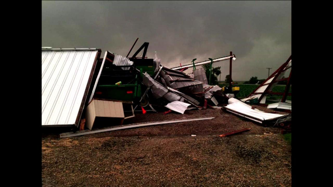 Machine shed down after severe weather in Earlville, Ill.