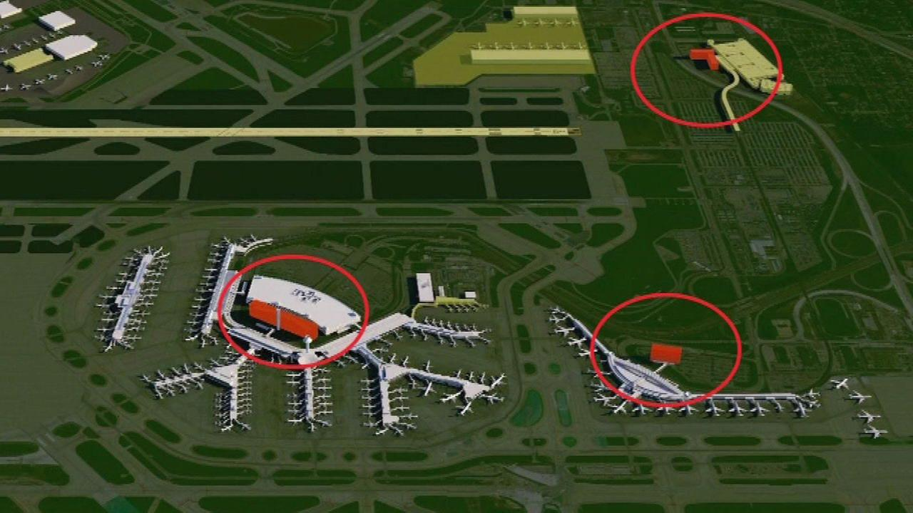 A rendering of three hotel projects around OHare Airport.
