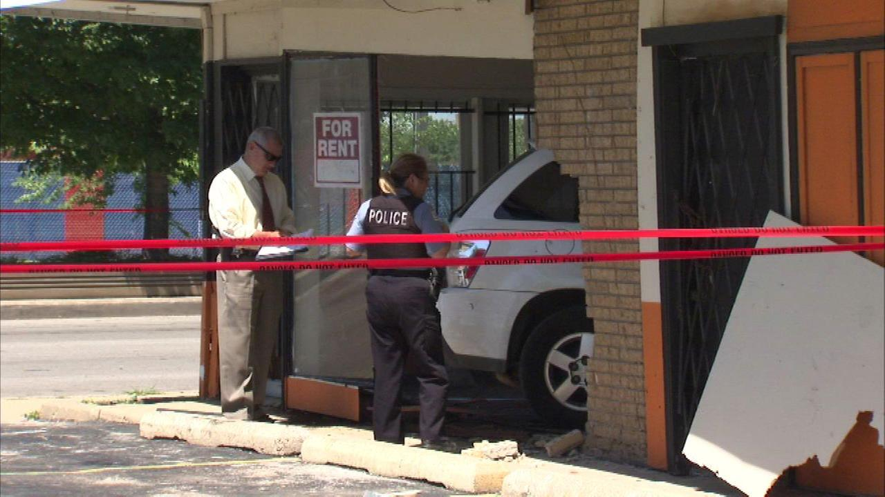 The 19-year-old man crashed a vehicle into a vacant storefront in the 2400 block of West 79th Street about 1:30 p.m., police said.