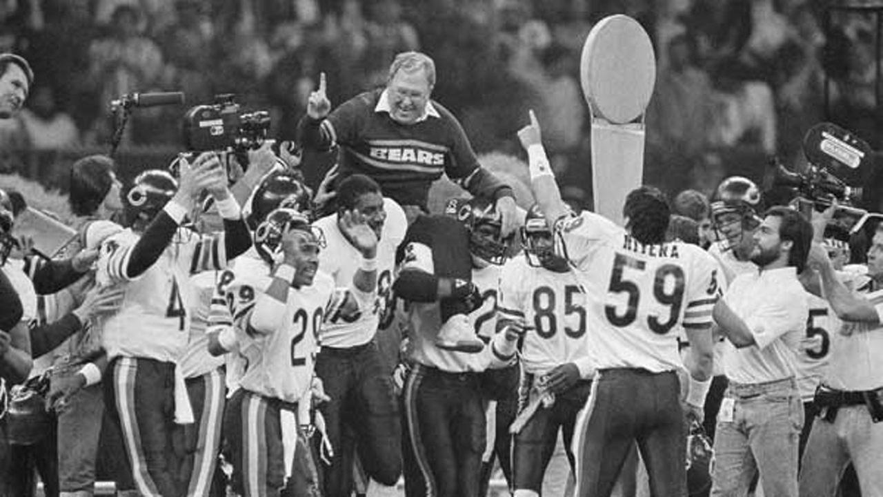 Chicago Bears defensive coordinator Buddy Ryan is carried off the field by the team after the Bears beat the New England Patriots 46-10 to win Super Bowl XX.