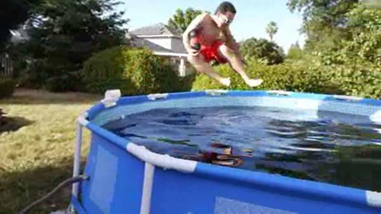 Man fills pool with Coke, Mentos; friend takes a dip