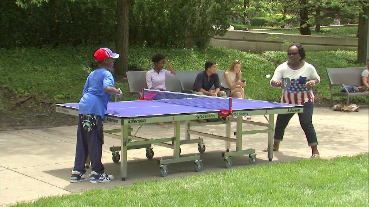 Ping pong tables in Millennium Park part of 'Unplug and Play' event