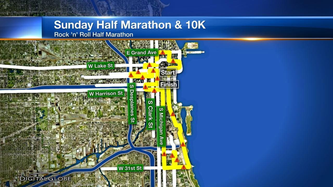 Streets closed for Chicago Rock 'n' Roll Half Marathon