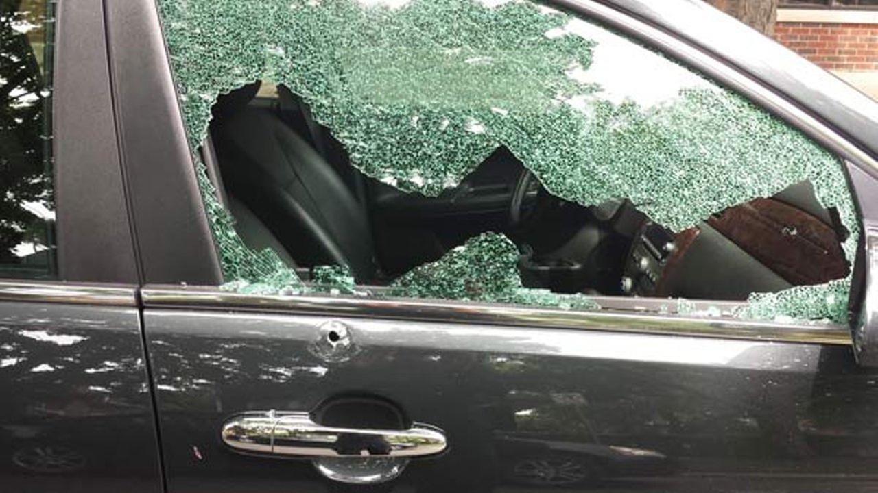 A vehicle damaged by gunfire in the 2600-block of W. Eastwood on July 18, 2016.