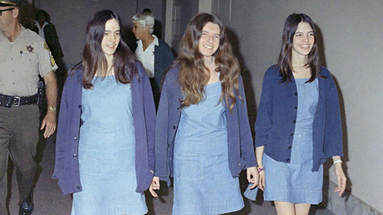 In this Aug. 20, 1970 file photo, Charles Manson followers, from left: Susan Atkins, Patricia Krenwinkel and Leslie Van Houten, walk to court.