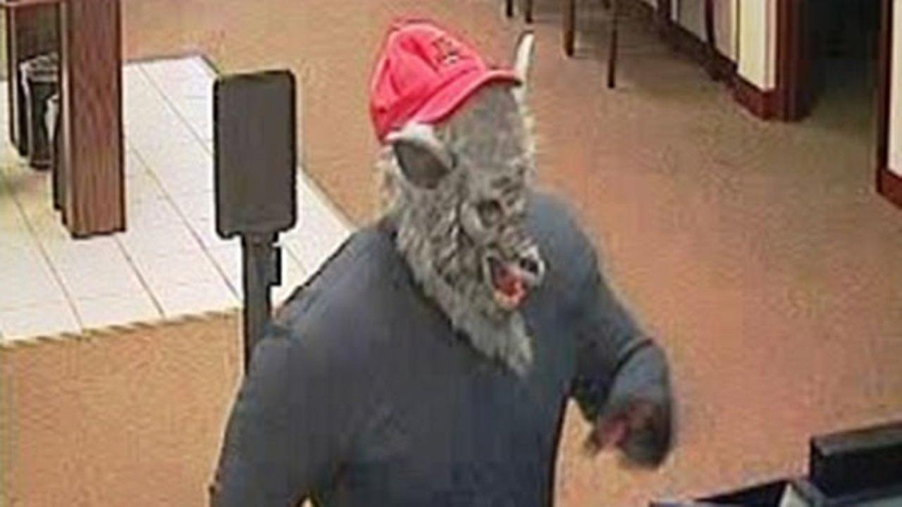 Man wearing wolf mask robs bank