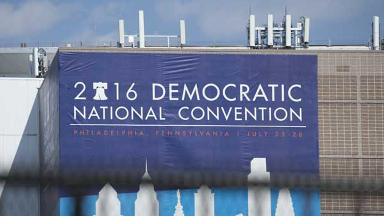 The Democratic National Convention Banner attached to Wells Fargo Center in Philadelphia.
